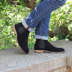 vue portee chelsea boots basse homme cuir daim noir jules & jenn