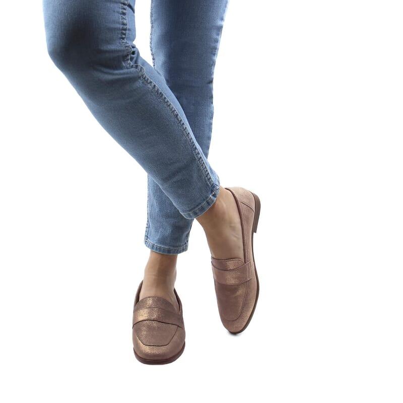 vue portee mocassins moderne cuir bronze jules & jenn