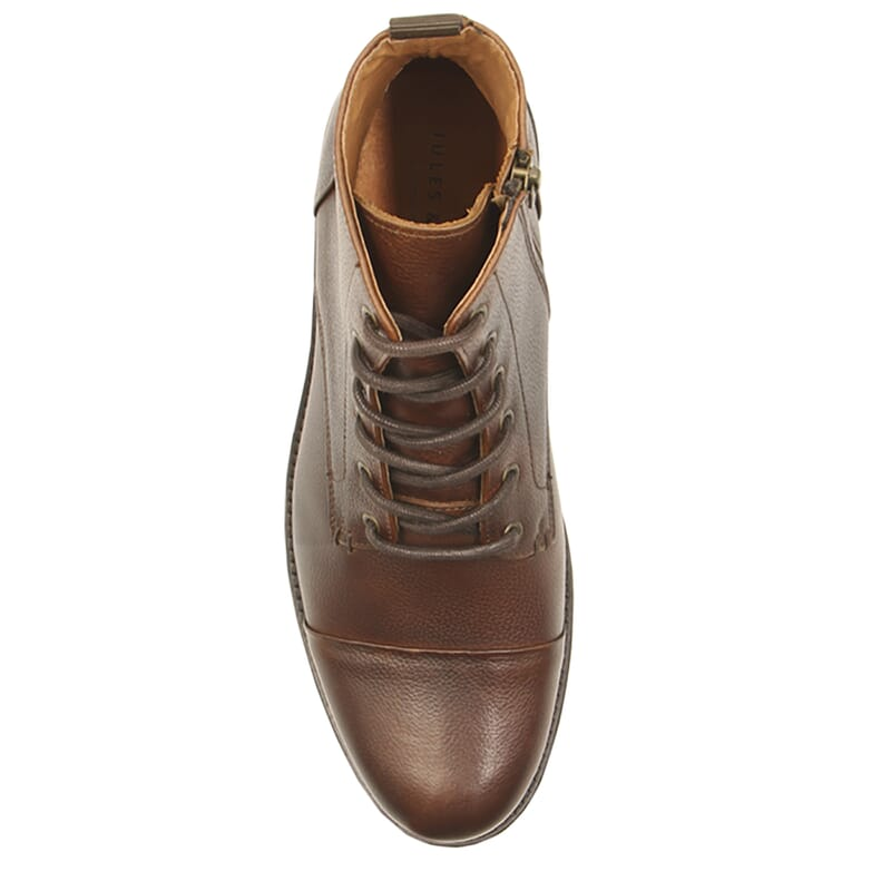 vue dessus ranger boots cuir graine marron jules & jenn
