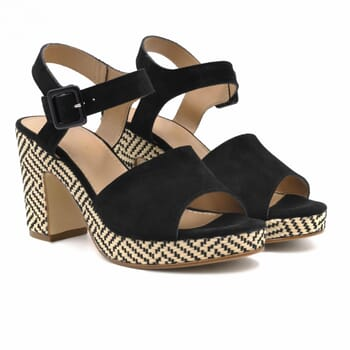 sandales compensees cuir daim noir jules & jenn