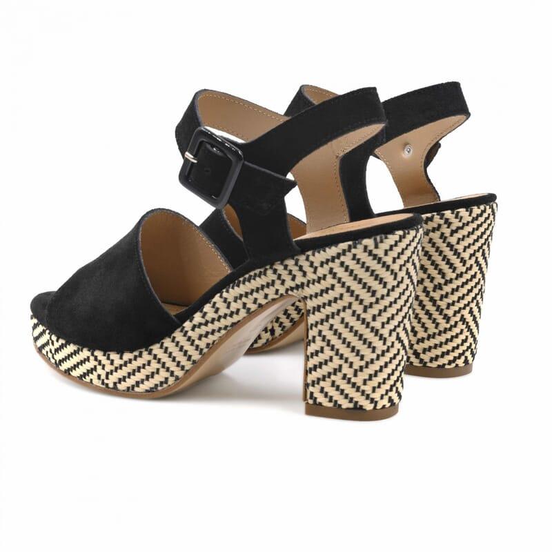 vue arriere sandales compensees cuir daim noir jules & jenn