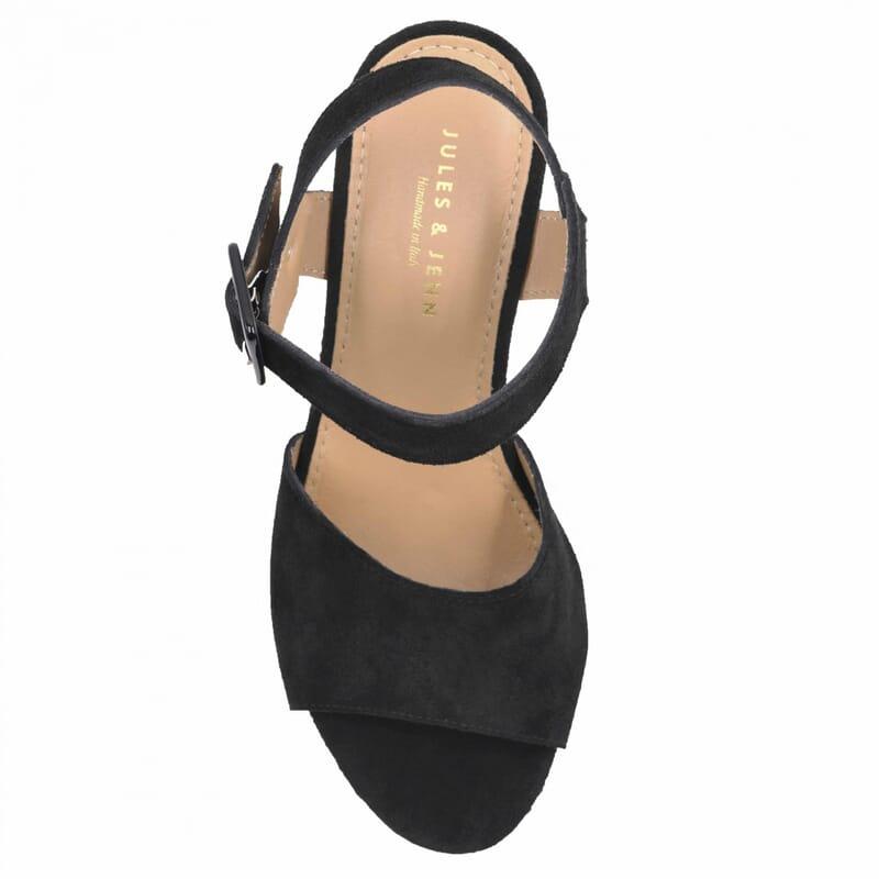 vue dessus sandales compensees cuir daim noir jules & jenn