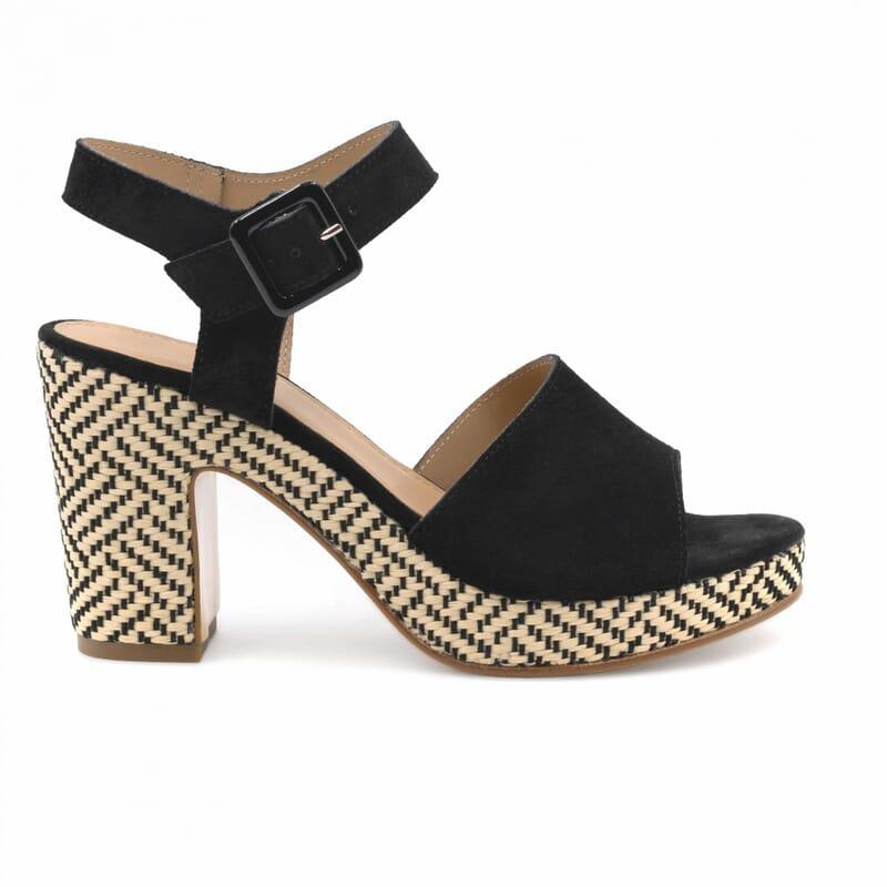 vue exterieure sandales compensees cuir daim noir jules & jenn