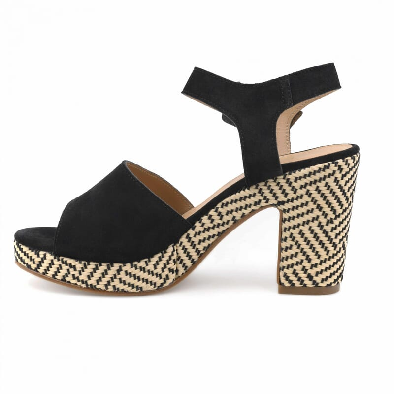 vue interieure sandales compensees cuir daim noir jules & jenn