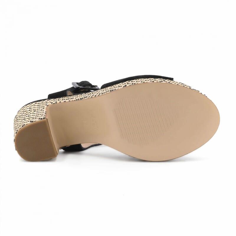 vue dessous sandales compensees cuir daim noir jules & jenn