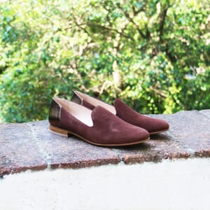 vue posee slippers classiques cuir daim marron et marron metallise jules & jenn