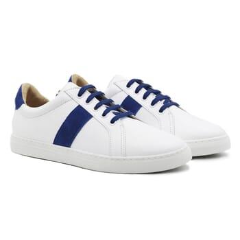 baskets a lacet cuir blanc & bleu jules & jenn