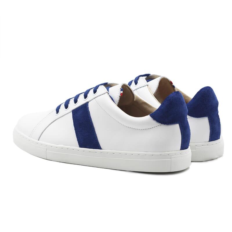 vue arriere baskets a lacet cuir blanc & bleu jules & jenn