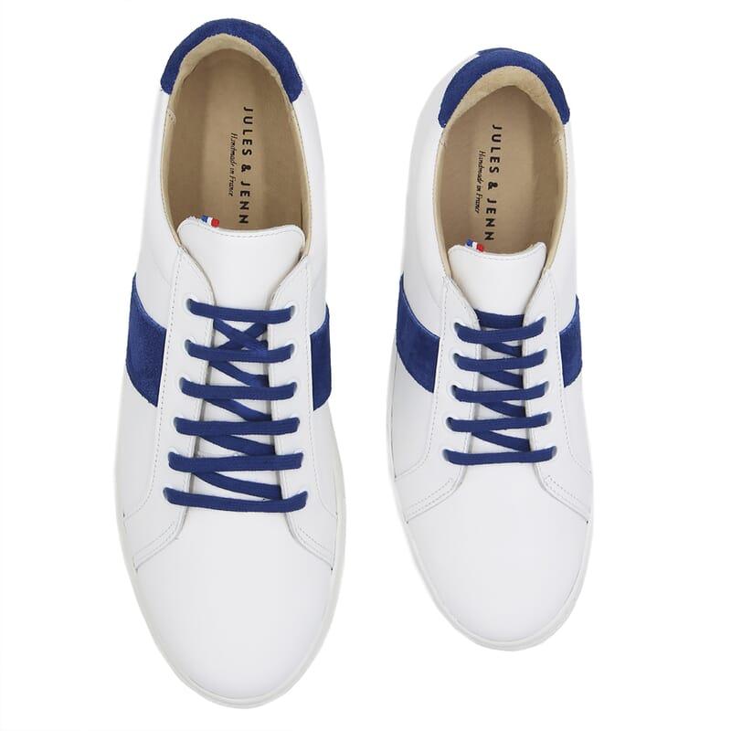vue dessus baskets a lacet cuir blanc & bleu jules & jenn