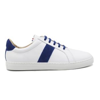 vue exterieur baskets a lacet cuir blanc & bleu jules & jenn