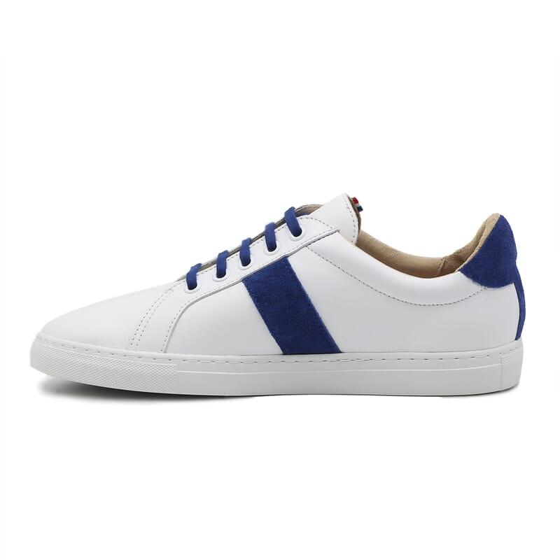 vue interieur baskets a lacet cuir blanc & bleu jules & jenn