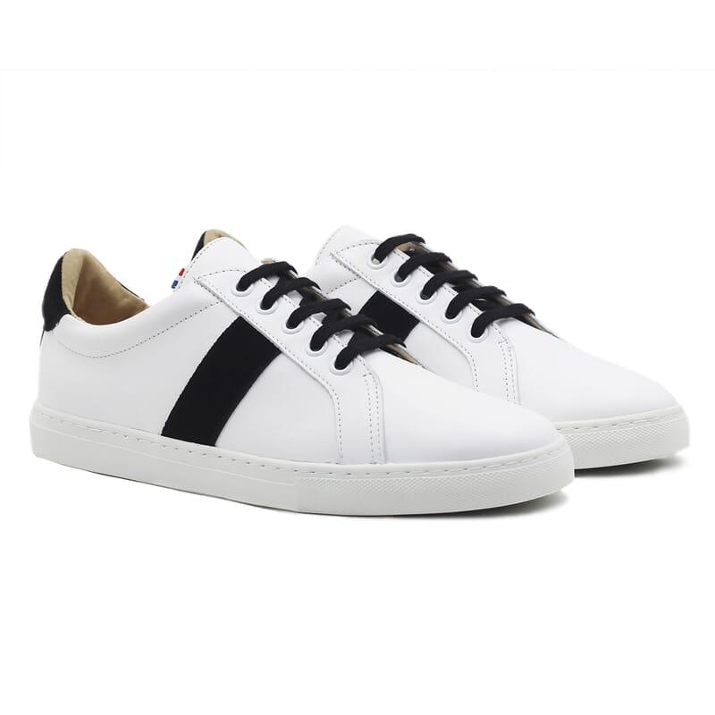 baskets a lacet cuir blanc & noir jules & jenn