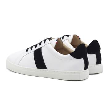 vue arriere baskets a lacet cuir blanc & noir jules & jenn
