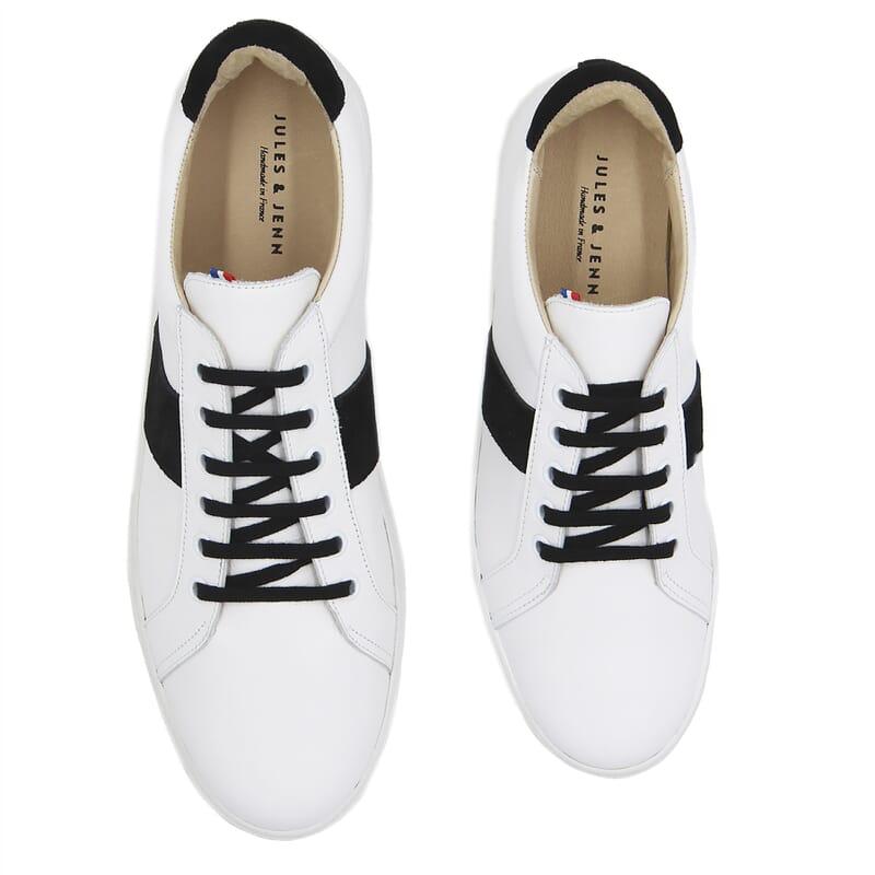 vue dessus baskets a lacet cuir blanc & noir jules & jenn