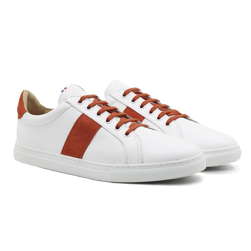 baskets a lacet cuir blanc & orange jules & jenn
