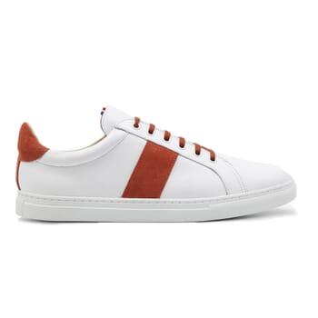 vue exterieur baskets a lacet cuir blanc & orange jules & jenn