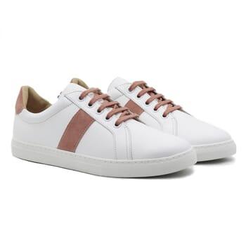 baskets a lacet cuir blanc & rose jules & jenn
