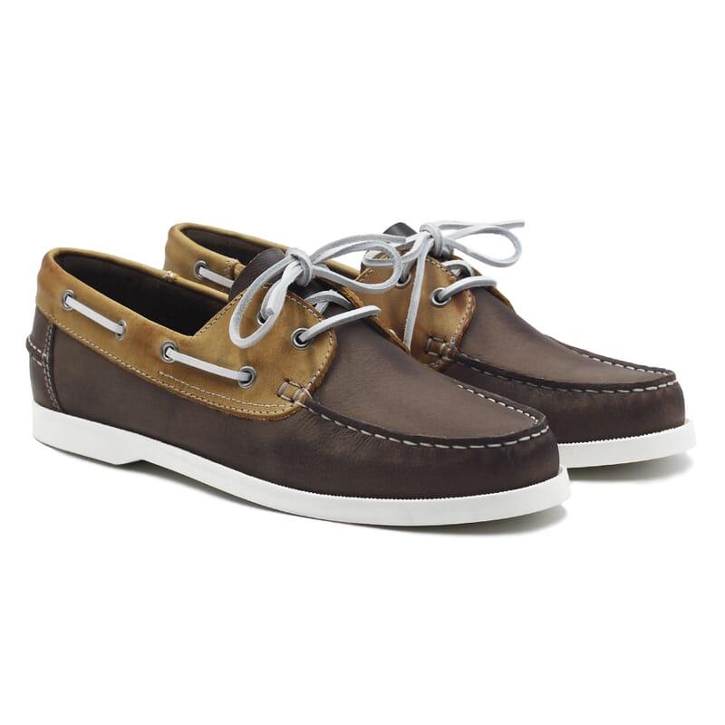 chaussures bateau cuir marron et beige jules & jenn