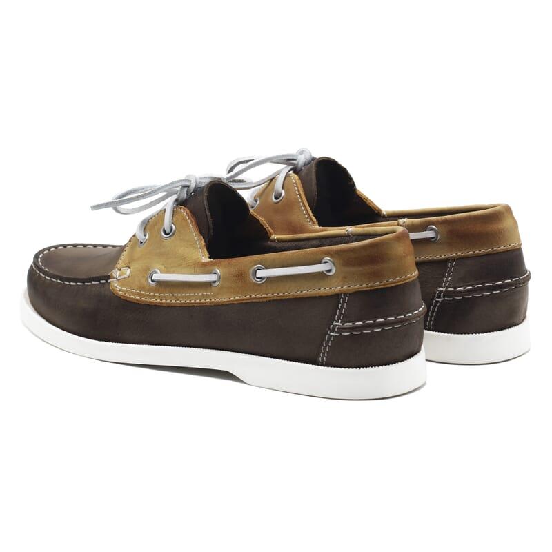 vue arriere chaussures bateau cuir marron et beige jules & jenn