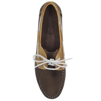 vue dessus chaussures bateau cuir marron et beige jules & jenn