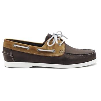 vue exterieure chaussures bateau cuir marron et beige jules & jenn