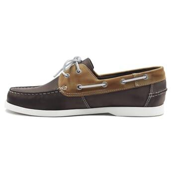 vue interieure chaussures bateau cuir marron et beige jules & jenn