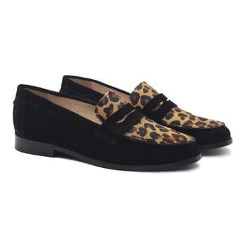mocassins femme classiques cuir daim noir et leopard jules & jenn