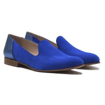 slippers classiques cuir daim bleu royal et bleu metallise jules & jenn