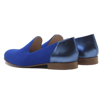 vue arriere slippers classiques cuir daim bleu royal et bleu metallise jules & jenn