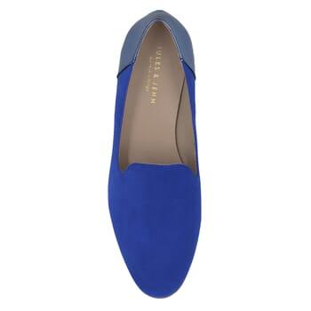 vue dessus slippers classiques cuir daim bleu royal et bleu metallise jules & jenn