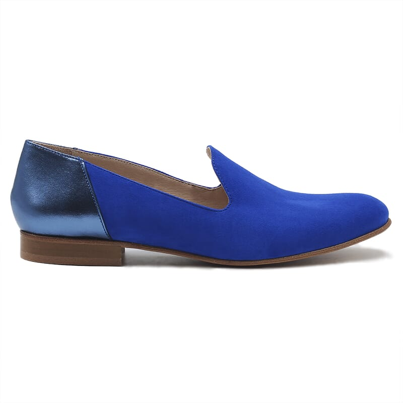 vue exterieur slippers classiques cuir daim bleu royal et bleu metallise jules & jenn