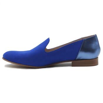 vue interieur slippers classiques cuir daim bleu royal et bleu metallise jules & jenn