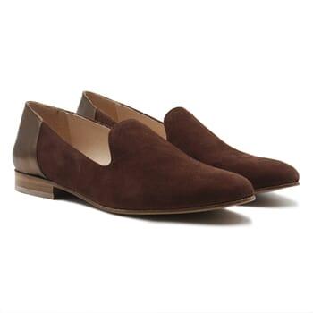 slippers classiques cuir daim marron et marron metallise jules & jenn