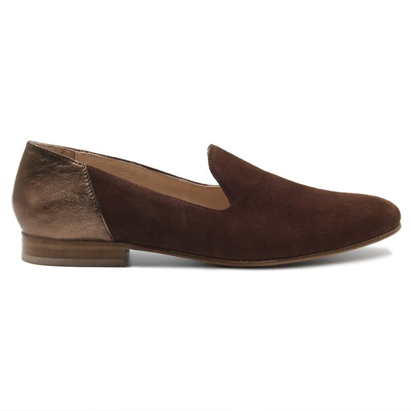 vue exterieur slippers classiques cuir daim marron et marron metallise jules & jenn