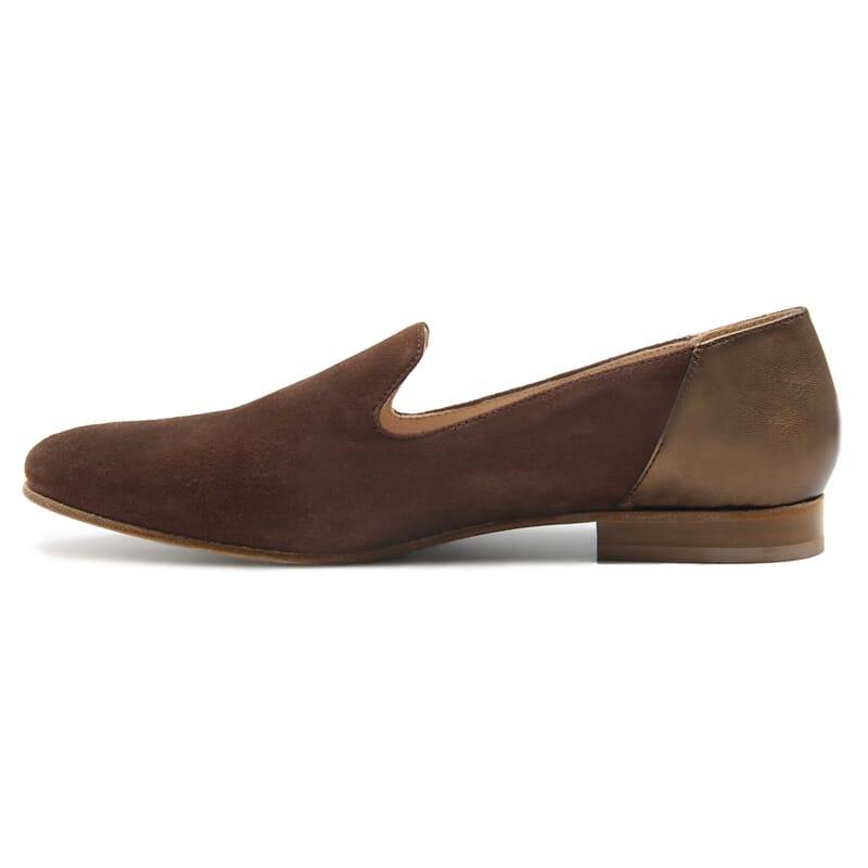vue interieur slippers classiques cuir daim marron et marron metallise jules & jenn