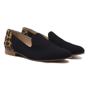 slippers classiques cuir daim noir et leopard jules & jenn