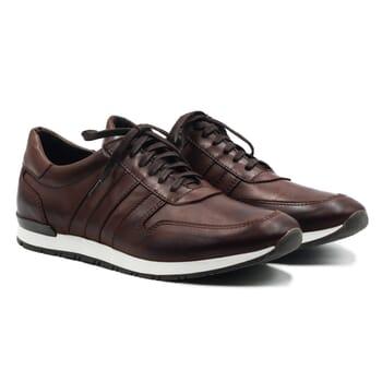 sneakers cuir noir lacets marron jules & jenn