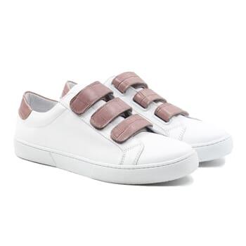 baskets a scratch cuir blanc et rose jules & jenn