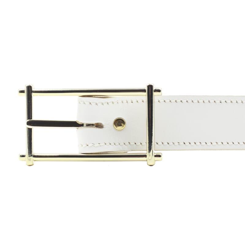 boucle ceinture mademoiselle cuir blanc fabriquee en France