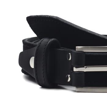 gros plan ceinture new york cuir daim noir jules et jenn