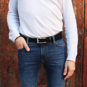 vue portee ceinture new york cuir daim noir jules & jenn