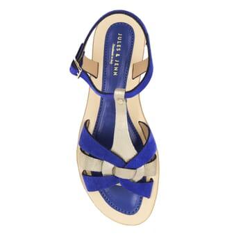 vue dessus sandales plates croisees cuir daim bleu royal jules&jenn