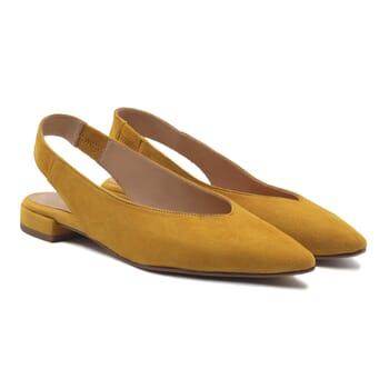 ballerines slingback cuir daim moutarde jules & jenn
