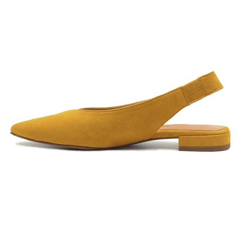 vue interieur ballerines slingback cuir daim moutarde jules & jenn