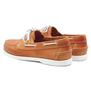 vue arriere chaussures bateau cuir orange jules & jenn