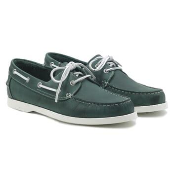 chaussures bateau cuir vert jules & jenn