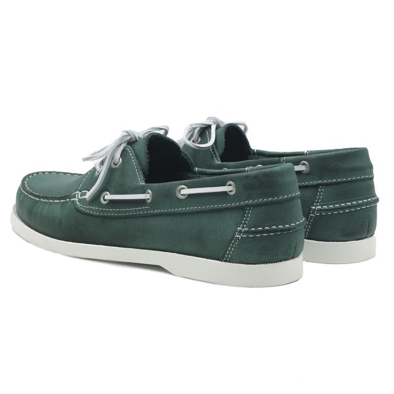 vue arriere chaussures bateau cuir vert jules & jenn