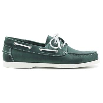 vue exterieur chaussures bateau cuir vert jules & jenn