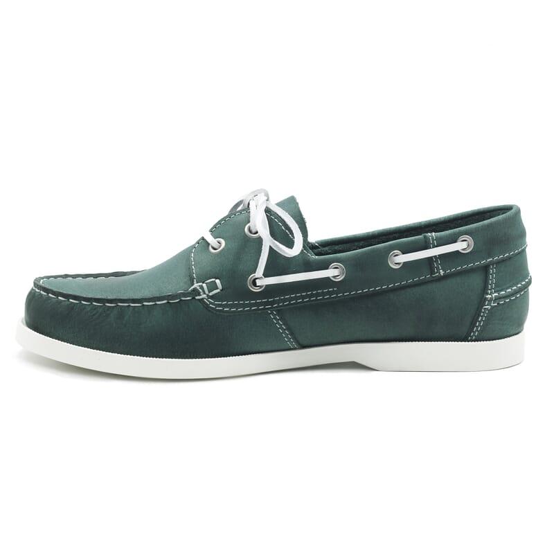 vue interieur chaussures bateau cuir vert jules & jenn