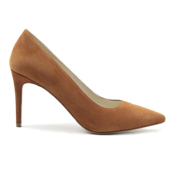 vue exterieur escarpins classiques cuir daim camel jules & jenn